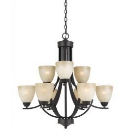 Series 8000 9 Light Chandelier In A Bronze Finish And  Tea Stained Glass