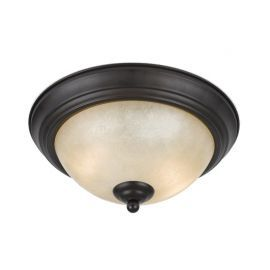 Series 8000 2 Light Flushmount In A Bronze Finish And Tea Stained Glass