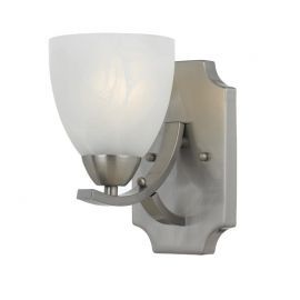 Series 8001 1 Light Sconce In Satin Nickel Finish And White Alabaster Glass