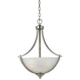 Series 8001 Pendant In Satn Nickel Finish And White Alabaster Glass