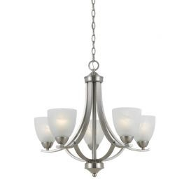 Series 8001 5 Light Chandelier In Satin Nickel Finish And White Alabaster Glass