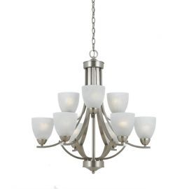 Series 8001 9 Light Chandelier In Satin Nickel Finish And White Alabaster Glass