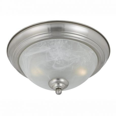 Series 8001 2 Light Flush Mount In A Satin Nickel Finish And White Alabaster Glass