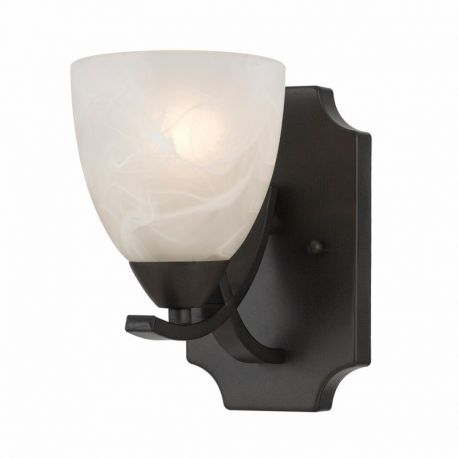 Series 8002 1 Light Sconce In A Bronze Finish And White Alabaster Glass