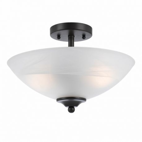 Series 8002 2 Light Semi-flushmount In A Bronze Finish  And White Alabaster Glass