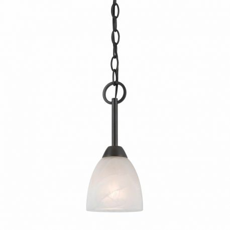 Series 8002 1 Light Mini-pendant In A Bronze Finish  And White Alabaster Glass