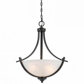 Series 8002 3 Light Pendant In A Bronze Finish  And White Alabaster Glass