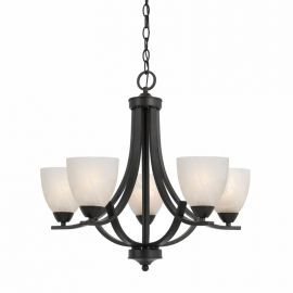 Series 8002 5 Light Chandelier In A Bronze Finish  And White Alabaster Glass