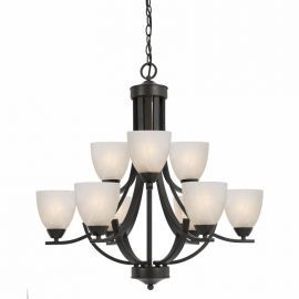Series 8002 9 Light Chandelier In A Bronze Finish  And White Alabaster Glass