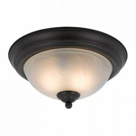 Series 8002 2 Light Flush Mount In A Bronze Finish  And White Alabaster Glass