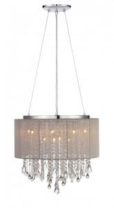 Hf1502-tp Round Taupe Silk String Shade And Crystal Dual Mount