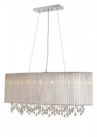 Hf1503-slv Oval Silver Silk String Shade And Crystal Dual Mount