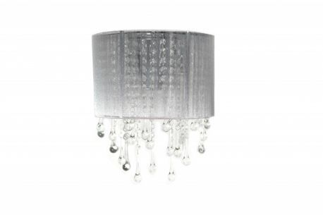 Hf1511-slv Silver Silk String And Crystal Wall Sconce
