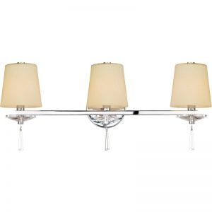 3-Light Chrome Finish Bathroom Vanity Sconce, Creme Shades