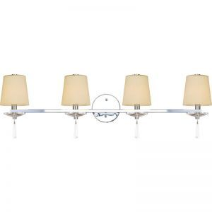 4-Light Chrome Finish Bathroom Vanity Sconce, Creme Shades