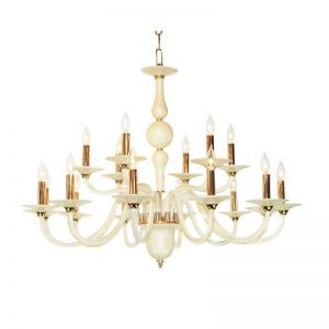 BIANCA-18 WH/BK 18-Light Chandelier, White/Black Finish