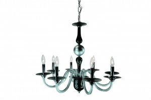 BIANCA-8 BK/RD 8-Light Chandelier, Black/Red Finish