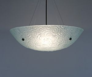 "Bowl Silver Hardware 6x22 Ceiling Mount Incandescent Whirlpool Frost 31"" OA Drop Ceiling Fixture"