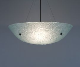 "Bowl Silver Hardware 6x22 Ceiling Mount Incandescent Whirlpool Frost 53"" OA Drop Ceiling Fixture"