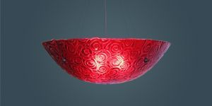 "Bowl Silver Hardware 6x22 Ceiling Mount Incandescent Whirlpool Red 53"" OA Drop Ceiling Fixture"