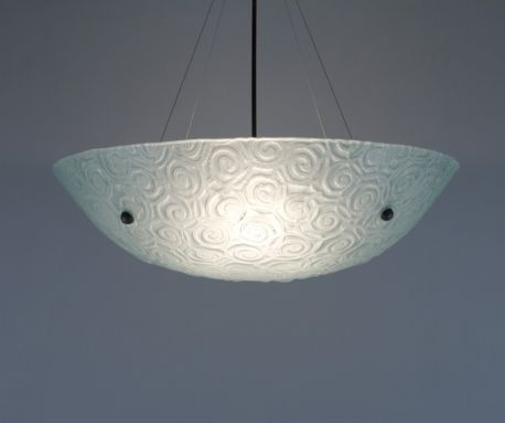 "Bowl Silver Hardware 9x30 Ceiling Mount Incandescent Whirlpool Frost 34"" Overall Drop Ceiling Fixture"