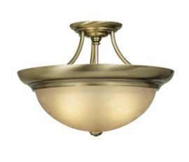 "17"" Semi-Flush Ceiling Light Antique Brass"