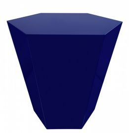 "18.5""H Indigo Blue Lacquer Hexagonal Accent Stool"