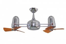 Dagny-Polished Chrome-Wood Blades Ceiling Fan