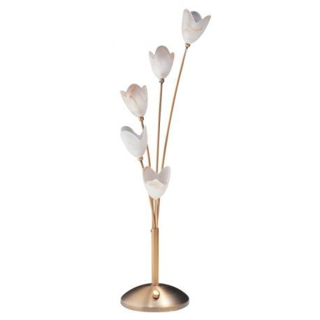 DLHA1575-AB Antique Brass Table Lamp w/ 5 Glass Tulips