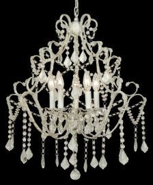 Et05 5 Light All Pink Crystal Chandelier
