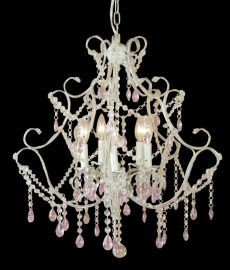 Et05p 8 Light All Pink Crystal Chandelier