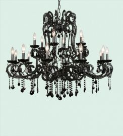 Et07xblk (12+8) 18 Light Black Crystal Black Frame Chandelr, 2 Tier