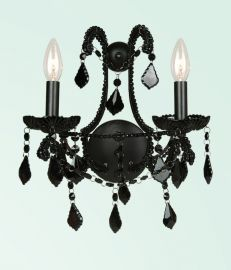 Et08blk 2 Light Black Crystal And Frame Wall Sconce