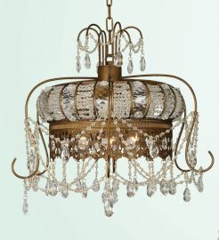 Et104 3 Light Gld Frame Clear Crystal Crown Ceiling Fixture