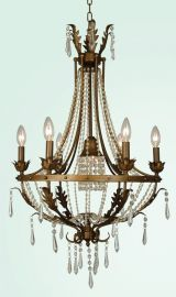 Et109 6 Light Brown Frame Clear Crystal Ceiling Light Fixture