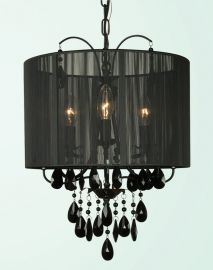 Et111blk 3 Light Black Frame And Shade W / Black Crystal Ceiling Fixture