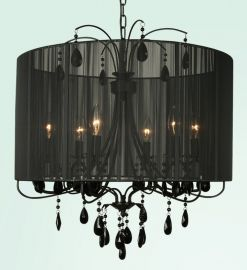 Et112blk 6 Light Black Frame And Shade W /  Black Crystal Ceiling Fixture