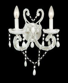 Et12ww 2 Light Opal White Crystal And White Frame Wall Sconce