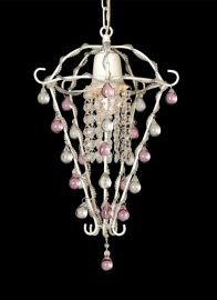 Et302 1 Light White Frame White And Pink Crystal Drops