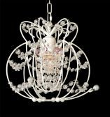 Et303 1 Light White Frame Clear And Pink Crystal Ceiling Fixture