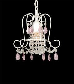 Et304 1 Light White Frame White And Pink Crystal Ceiling Fixture