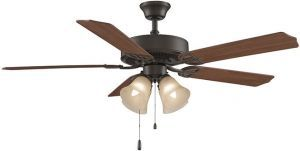 Aire Decor Oil-rubbed Bronze Ceiling Fan, Cherry/mahogany Blades And Amber Glass