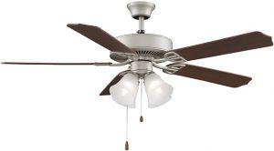 Aire Decor Satin Nickel Ceiling Fan, Cherry/mahogany Blades And White Frosted Glass