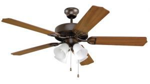 Aire Decor Oil-rubbed Bronze Ceiling Fan Cherry/mahogany Blades And White Frosted Glass