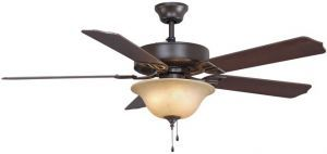 Aire Decor Oil-rubbed Bronze Ceiling Fan, Cherry/walnut Blades And Amber Frosted Glass Bowl