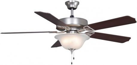 Aire Decor Satin Nickel Ceiling Fan, Cherry/walnut Blades And White Frosted Glass Bowl