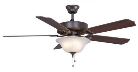 Aire Decor Oil-rubbed Bronze Ceiling Fan Cherry/mahogany Blades And White Frosted Glass Bowl
