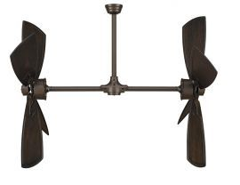 "Palisade Oil-rubbed Bronze Ceiling Fan, 52"" Walnut Carved Wood Blades"