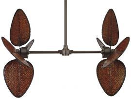 "FP240OB-EP30OB-PAD1A Palisade Ceiling Fan, 22"" Antique Wide Oval Woven Bamboo Blades"