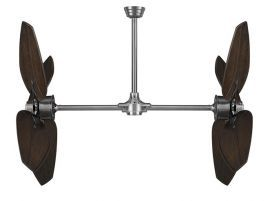 "Palisade Pewter Ceiling Fan, 52"" Walnut Carved Wood Blades"